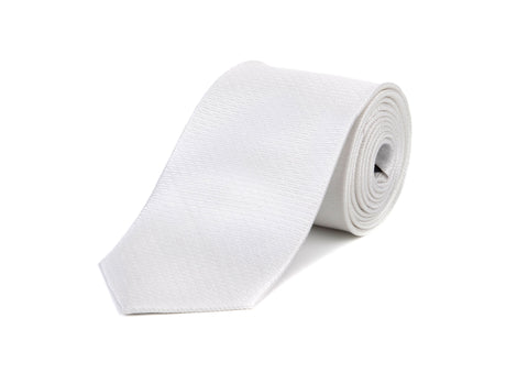 White Pattern 100% Silk Tie