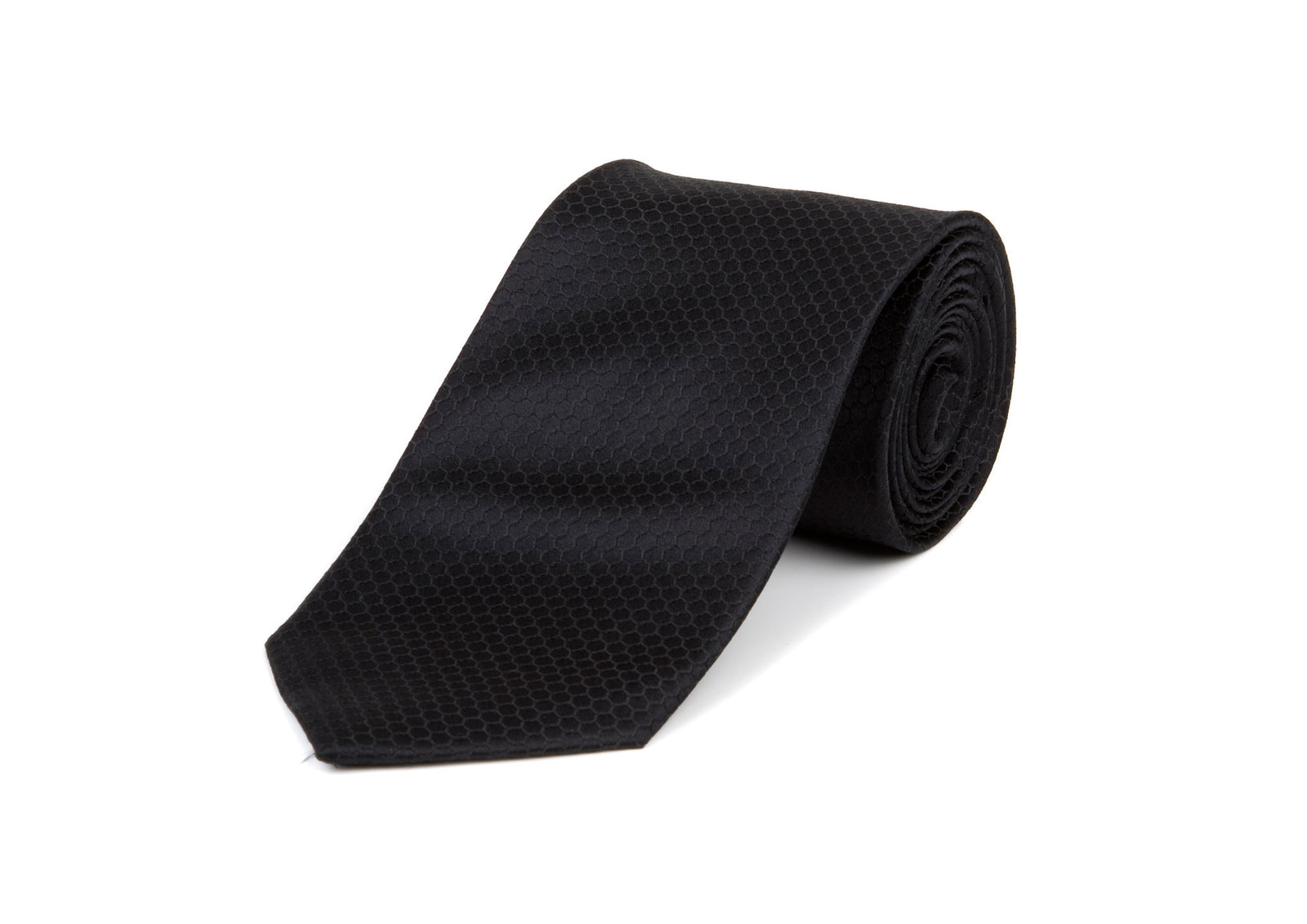 Black Pattern 100% Silk Tie