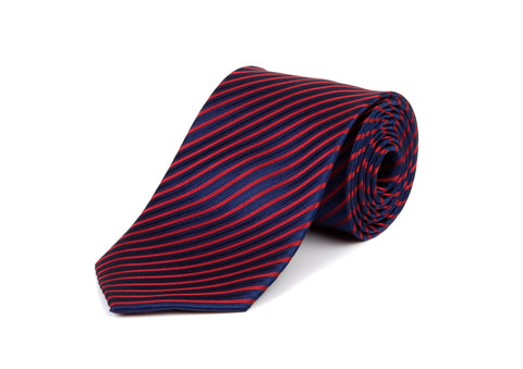 Blue and Red Striped 100% Silk Tie
