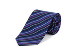 Navy Blue and Blue Striped 100% Silk Tie