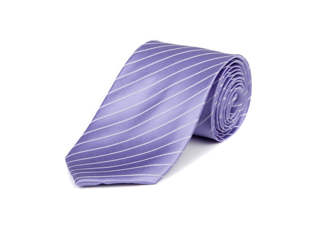 Lilac & White Striped 100% Silk Tie
