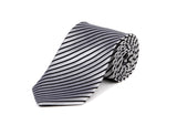 White & Black Striped 100% Silk Tie