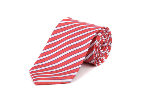 Red & White Club 100% Silk Tie