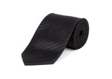 Black Self Striped 100% Silk Tie