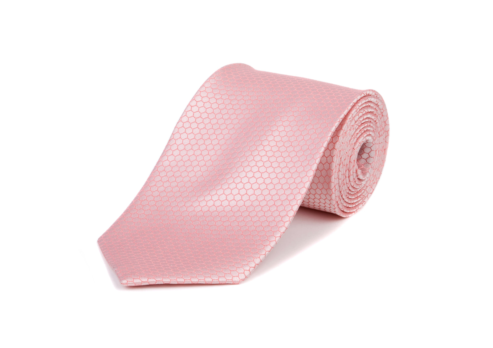 Pink Hexagon 100% Silk Tie