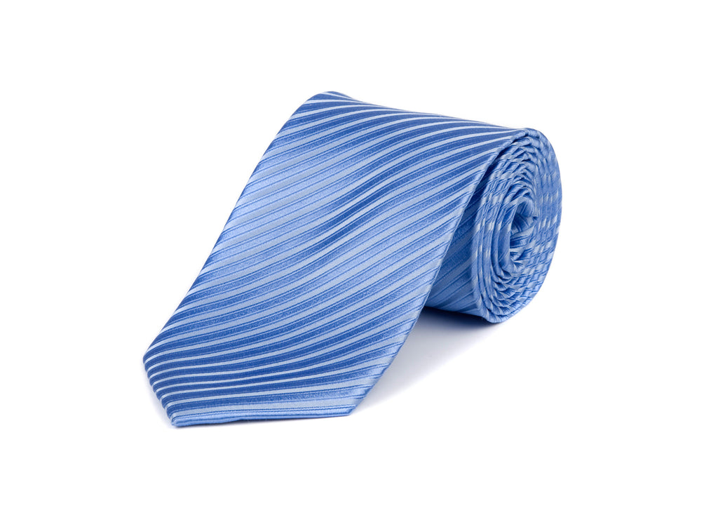 Blue Self Striped 100% Silk Tie