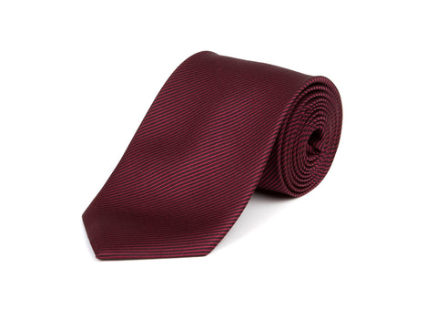 Red & Brown Striped 100% Silk Tie