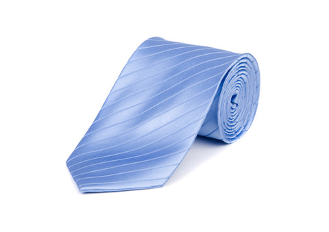Light Blue Striped 100% Silk Tie