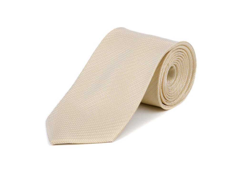 White Herringbone 100% Silk Tie