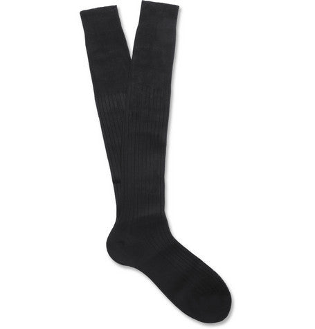 Navy Ribbed Knee-Length Bresciani Socks