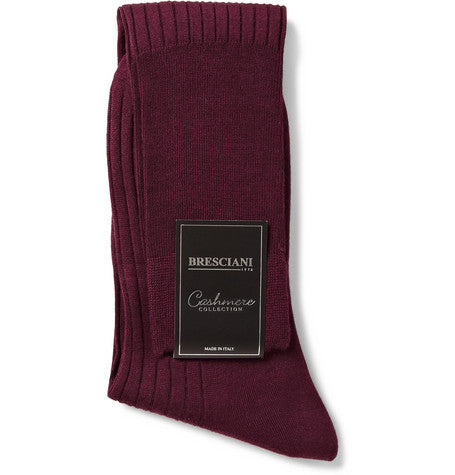Burgundy Ribbed Knee-Length Cashmere/Silk Bresciani Socks