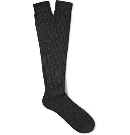 Grey Ribbed Knee - Length 100% Cashmere Socks