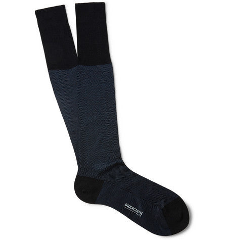 Navy Ribbed Knee-Length Cashmere/Silk Bresciani Socks
