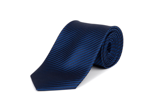 Navy Blue Striped 100% Silk Tie