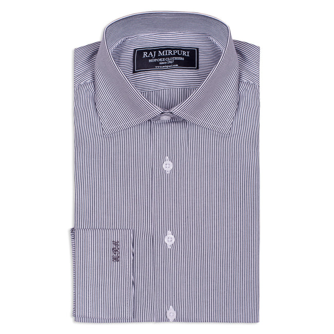 Bespoke - Dark Blue & White Striped Shirt