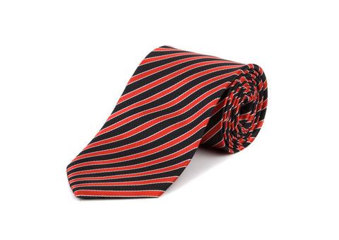 Red & Black Striped 100% Silk Tie