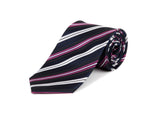 Blue, Pink & White Striped 100% Silk Tie