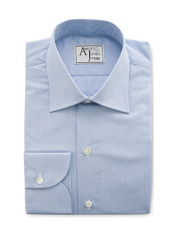 Bespoke - Light Blue & White Hairline Stripe Shirt - Button Cuff