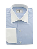 Bespoke -Light Blue Stripe Shirt with White Collars & Cuffs