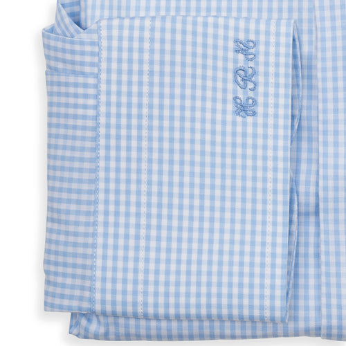 Bespoke - Light Blue Mini Checked Tailored Shirt