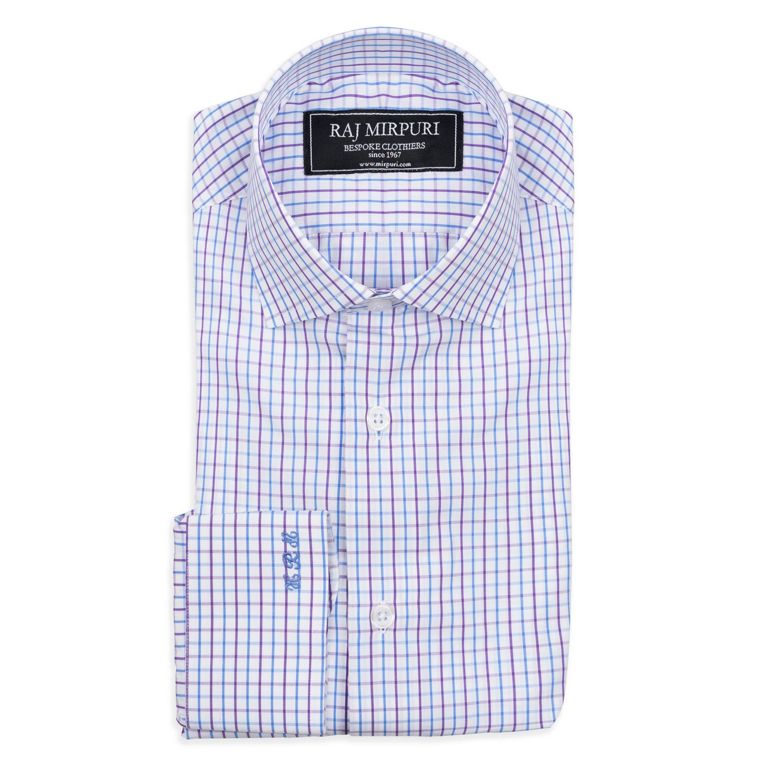 Bespoke - Purple and Blue Tattersall Tailored Shirt