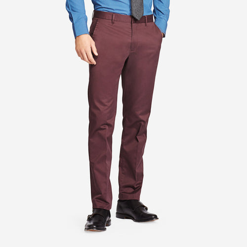 Maroon Cotton Tailored Chinos