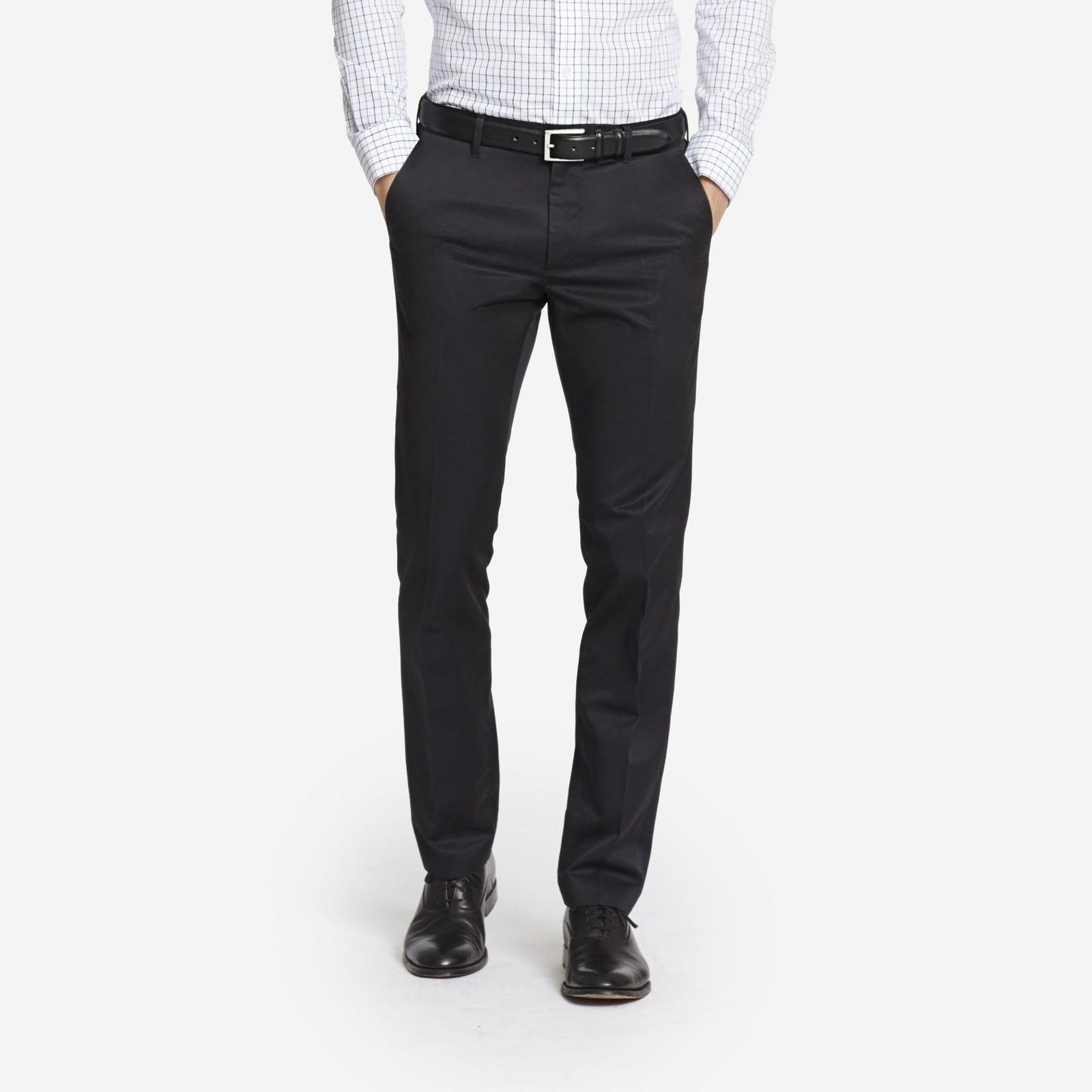 Black Bespoke Tailored Cotton Trousers