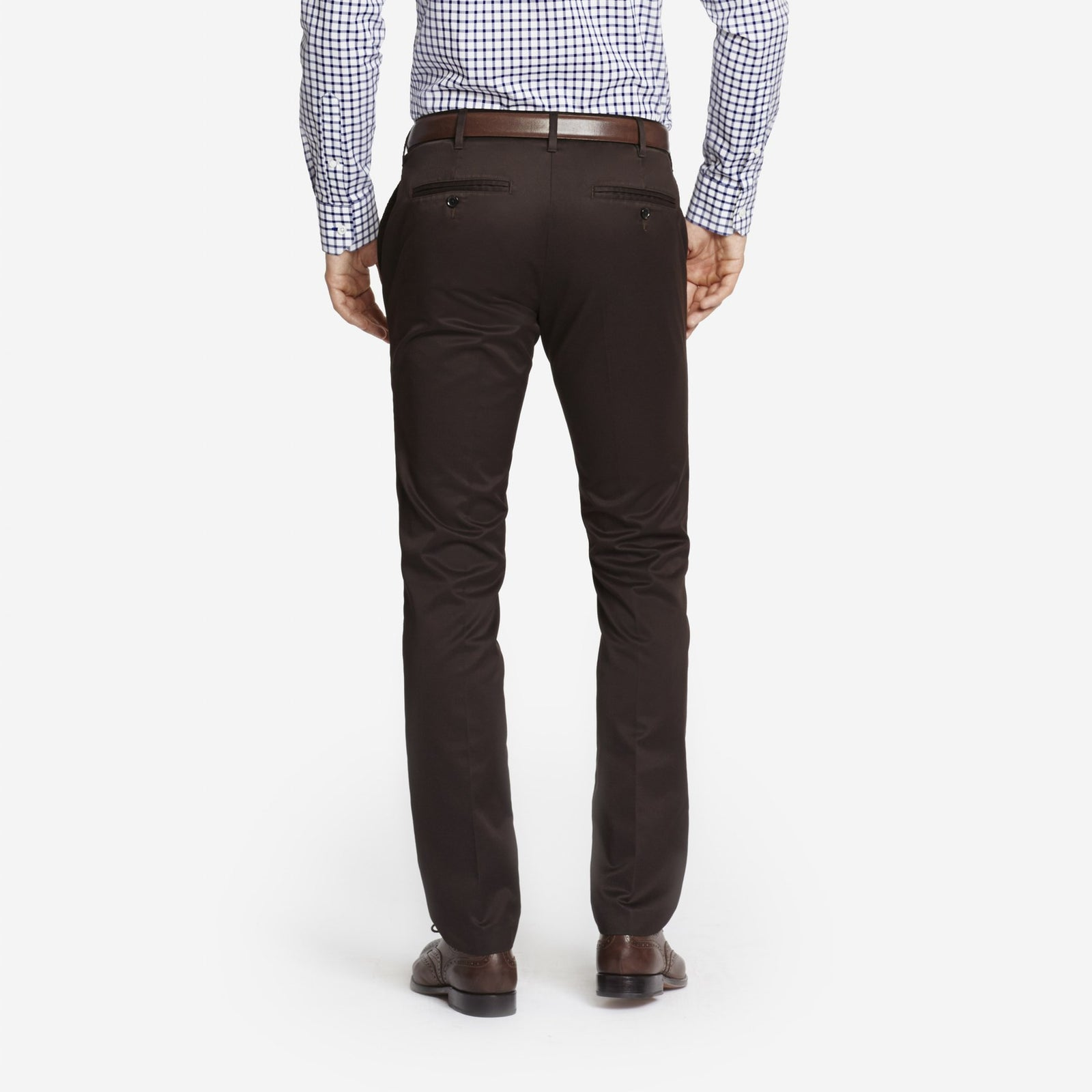 Dark Brown Bespoke Tailored Cotton Trousers