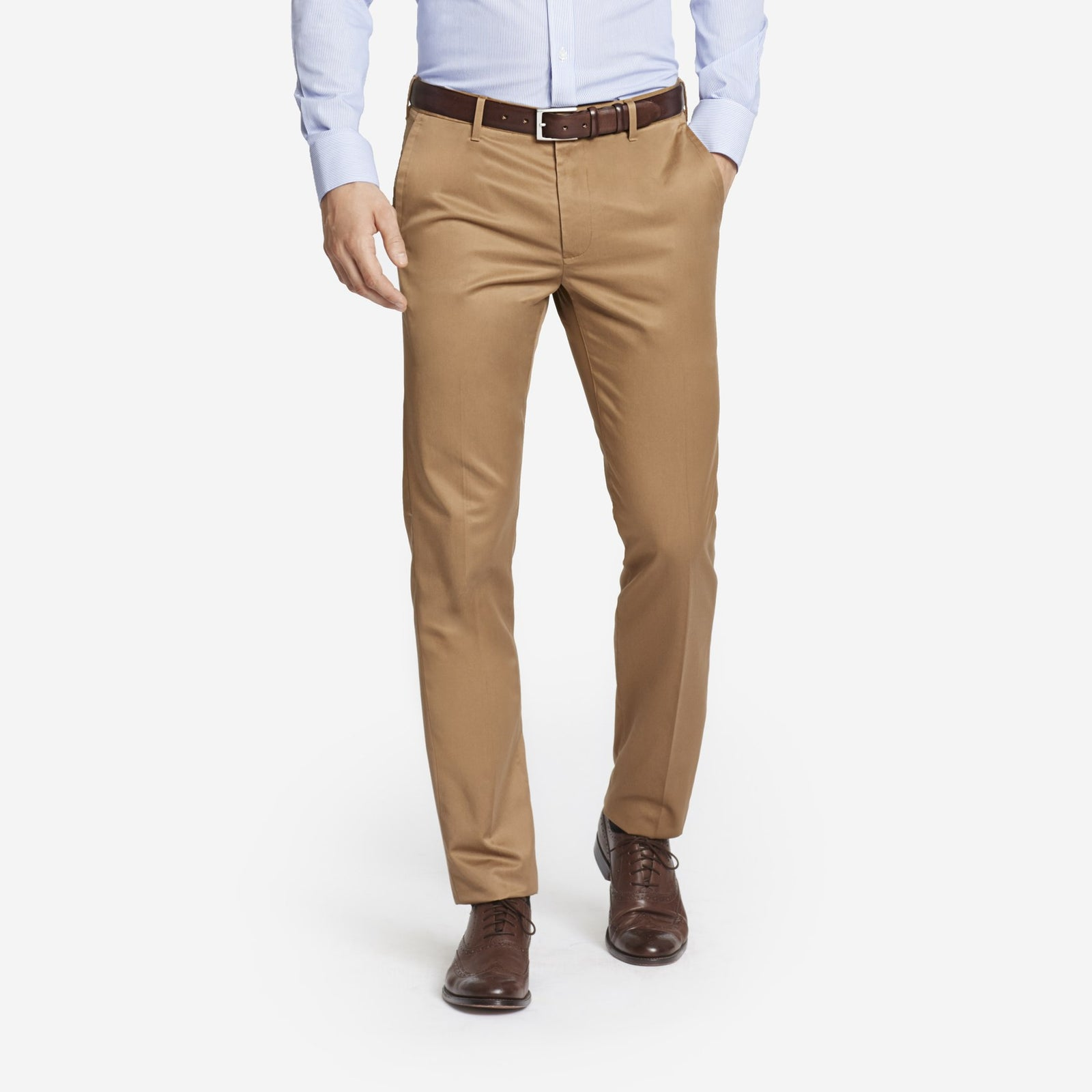 Khaki Bespoke Tailored Cotton Trousers