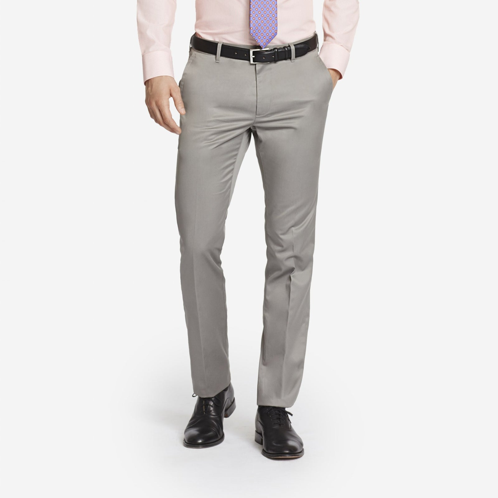 Light Grey Bespoke Tailored Cotton Trousers