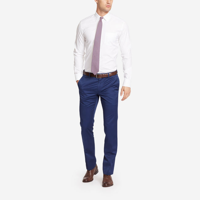 Navy Blue Bespoke Tailored Cotton Trousers