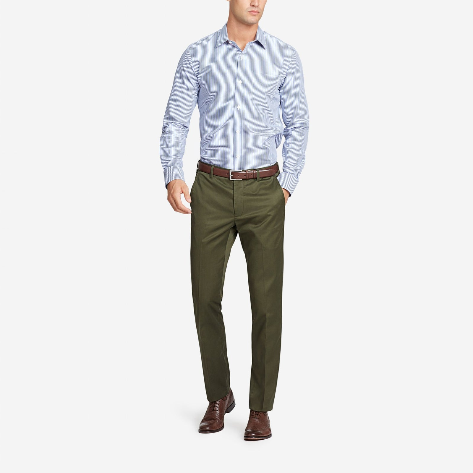 Olive Bespoke Tailored Cotton Trousers