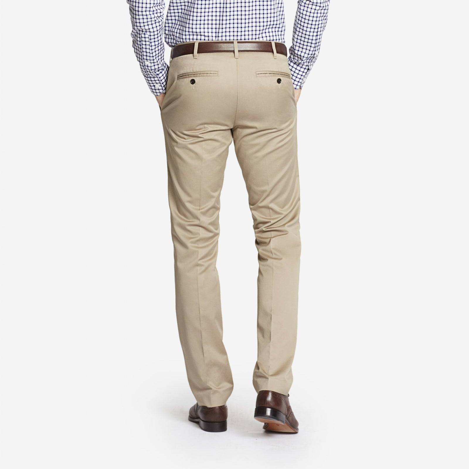 Tan Bespoke Tailored Cotton Trousers