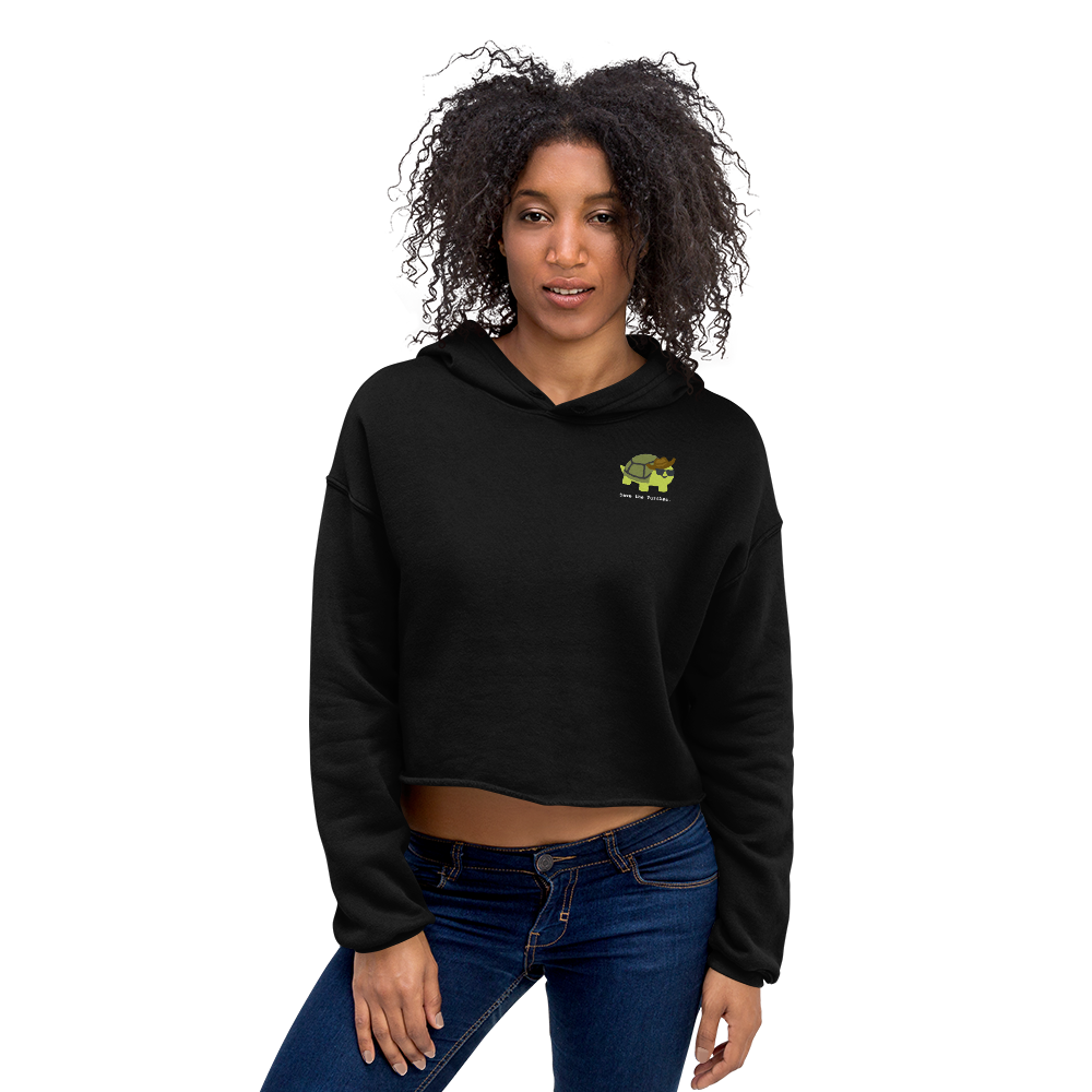 Turtle : Crop Hoodie  . Limited Edition Design by High School Student.