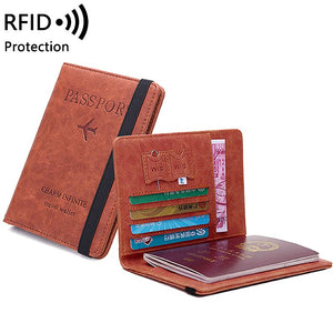 Women Men Vintage Business Passport Covers Holder Multi-Function Card PU Leather Wallet Case Travel Accessories - KbnMart