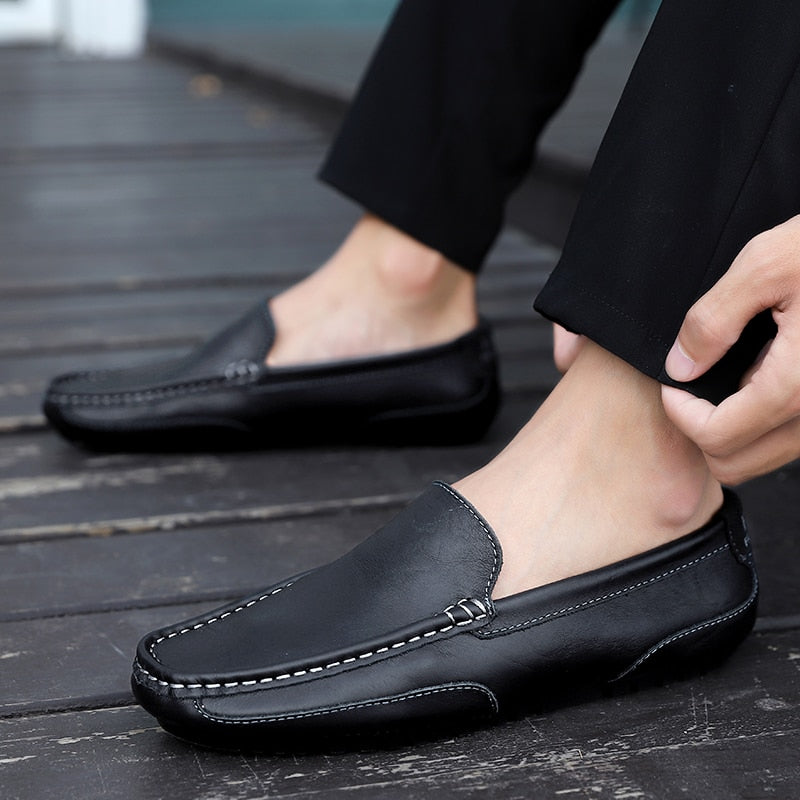 Genuine Leather Men Casual Shoes Brand 2020 Italian Men Loafers Moccasins Breathable Slip on Black Driving Shoes Plus Size 37-47 - KbnMart