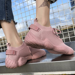 2020 Mesh Sneakers Women Vulcanized Shoes Lace-Up Solid Flat Platform Spring Autumn Outdoor Pink White Wedges Shoes for Women