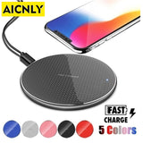 AICNLY K8 QI Wireless Charger for iPhone 11 Pro 8 XR XS Max 10W USB Quick Wireless Charging Pad for iPhone Samsung Huawei Xiaomi - KbnMart