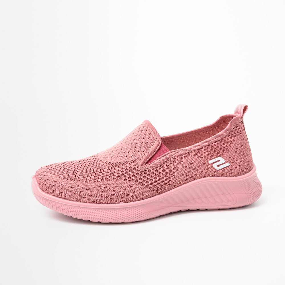 Women sneakers slip on soft women's shoes flat casual sock shoes Ladies Mesh lofaers fashion Shoes - KbnMart