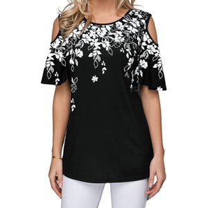 New 2020 Women Summer Loose T Shirt Casual Short Sleeve Tops Tees Sexy Off Shoulder Print O-Neck Vintage T-Shirt Plus Size S-5XL - KbnMart