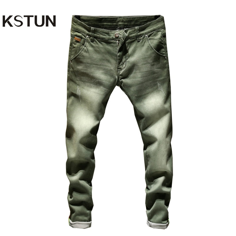 Jeans Men Skinny Stretch Mens Colourd Jeans Fashion Slim Fit  Jeans Casual Pants Trousers Male - KbnMart