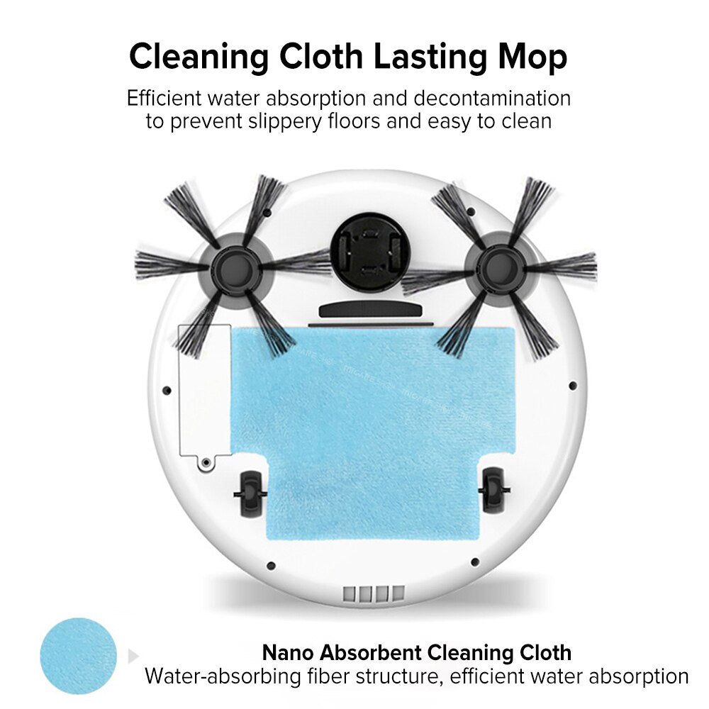 Smart Auto Robot Vacuum Cleaner Multifunctional 3-In-1 Electric Rechargeable Wet And Dry Mop Sweeping Vacuum Cleaner - KbnMart