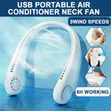 USB Rechargeable 2 in 1 Air Cooler Mini Electric Air Conditioner Portable Sport Outdoor Hanging Dual Wind Head Neck Cooling Fan - KbnMart