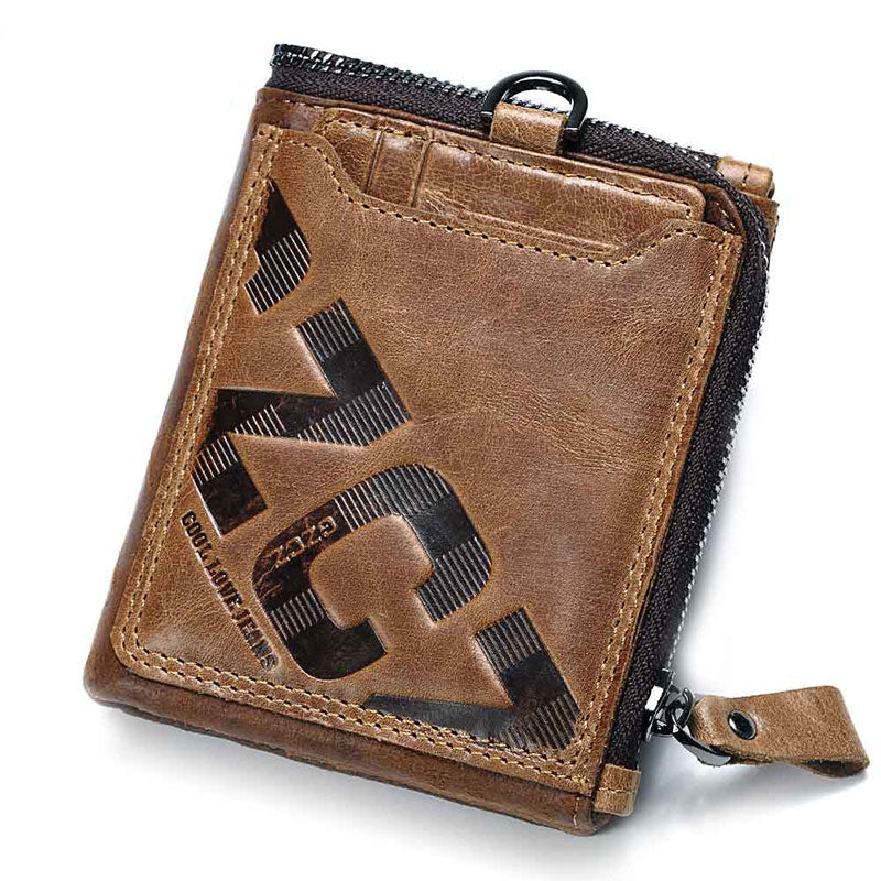 KAVIS Crazy Horse Genuine Leather Wallet Men Coin Purse Male Cuzdan Walet Portomonee PORTFOLIO  Perse Small Pocket money bag - KbnMart