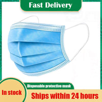 Fast Delivery Disposable Protective Mask 5-500pcs Antibacterial 3 Layers Waterproof Meltblown Cloth Facial Cover Dust Proof Mask