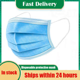 KbnMart Fast Delivery Disposable Protective Mask 5-500pcs Antibacterial 3 Layers Waterproof Meltblown Cloth Facial Cover Dust Proof Mask - KbnMart