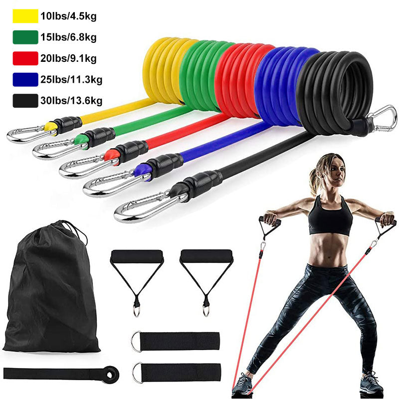 11Pcs/Set Latex Resistance Bands Crossfit Training Exercise Yoga Tubes Pull Rope Rubber Expander Elastic Bands Fitness Equipment - KbnMart