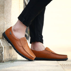 Genuine Leather Men Casual Shoes Luxury Brand 2020 Mens Loafers Moccasins Breathable Slip on Black Driving Shoes Plus Size - KbnMart