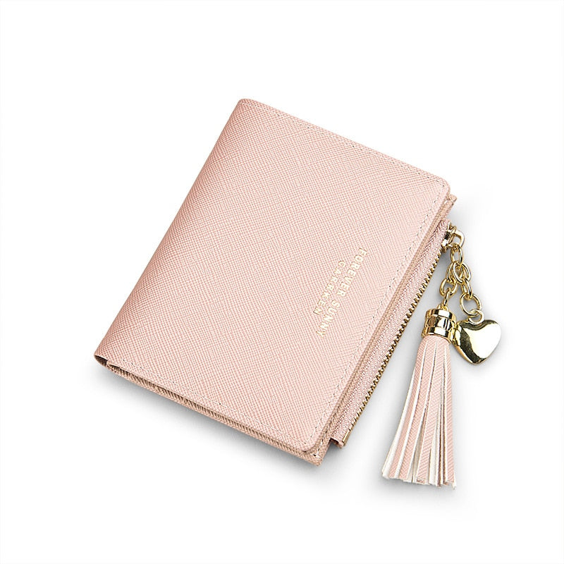 2020 Tassel Women Wallet Small Cute Wallet Women Short Leather Women Wallets Zipper Purses Portefeuille Female Purse Clutch - KbnMart