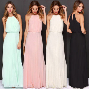 New Summer Women Sleeveless Halter Maxi Cheap Bridesmaids Dresses Elegant Off Shoulder Long Casual Beach Dresses Robe De Soiree - KbnMart